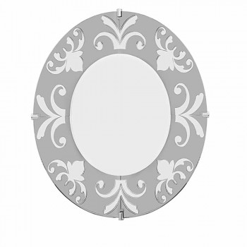 Round wall mirror, with Bardi floral decoration