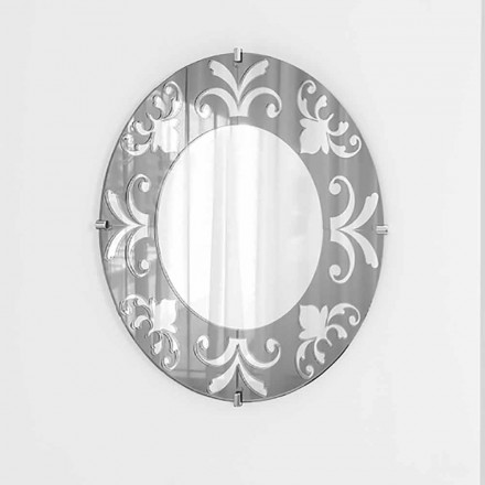 Circular wall mirror with floral decoration, Bardi