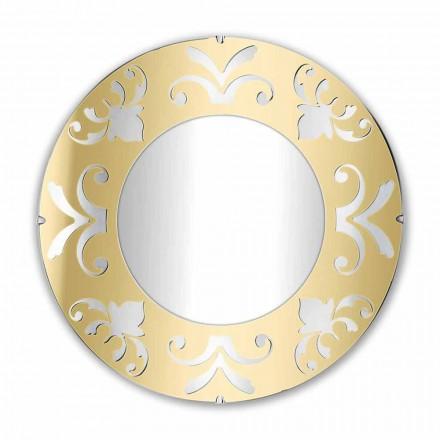 Round Design Mirror in Gold Silver or Bronze Plexiglass with Frame - Foscolo
