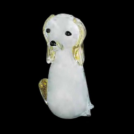 Dog Shaped Statue in White and Gold Murano Glass Made in Italy - Cesko