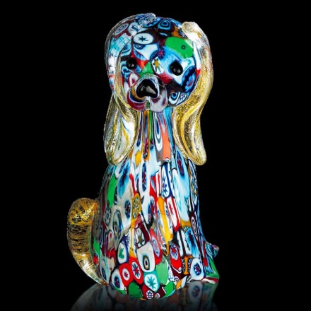 Dog Shaped Statue in Multicolor Murano Glass Made in Italy, Ernestino