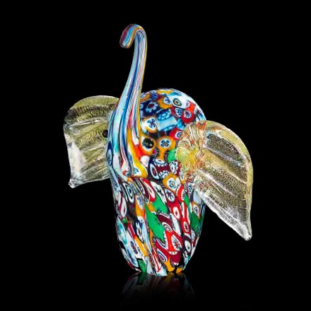 Elephant Shaped Statue in Murano Glass Artisan Made in Italy - Elly