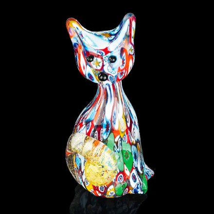 Cat Shaped Statue in Multicolor Murano Glass Made in Italy, Epifanio