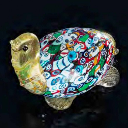 Turtle Shaped Statue in Murano Glass and 24K Gold Made in Italy, Fabrizio
