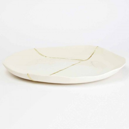 Round valet tray in white porcelain and gold leaf design - Cicatroro