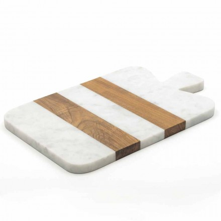 White Carrara Marble and Wood Made in Italy Design Cutting Board - Evea
