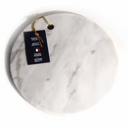 Round Design White Carrara Marble Cutting Board Made in Italy - Masha