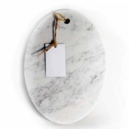 Modern Oval Cutting Board in White Carrara Marble Made in Italy - Masha