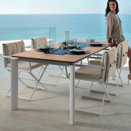 Outdoor extendable table Domino by Talenti, 160/215 cm made in Italy