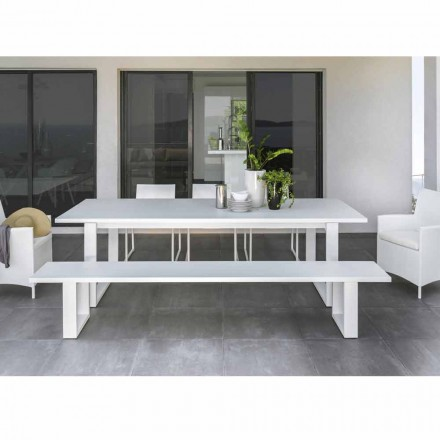 Outdoor bench Essence by Talenti, white aluminium, made in Italy