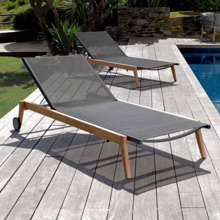 Sun lounger Moon by Talenti with fabric upholstery, made in Italy