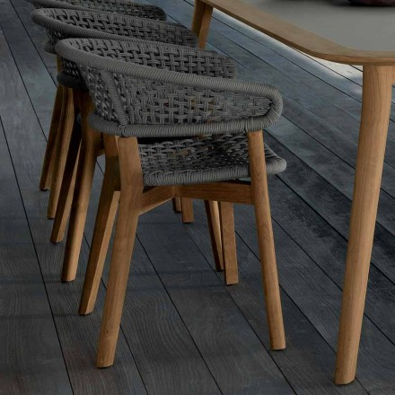 Talenti Moon chair in natural teak for garden made in Italy