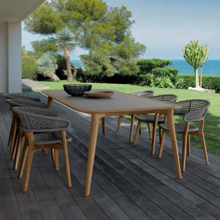 Outdoor teak dining table Moon by Talenti, modern design made in Italy
