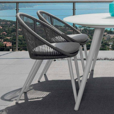 Talenti Rope garden chair in painted aluminum made in Italy