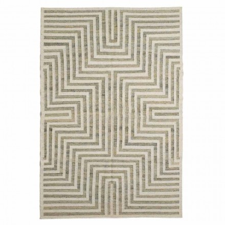 Modern Wool and Cotton Geometric Patterned Living Room Carpet - Carioca