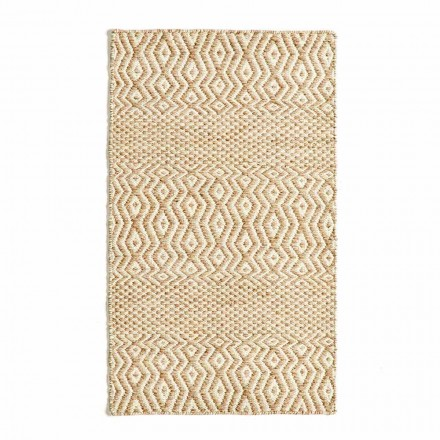 Modern Design Living Room Rug in Handmade Wool and Cotton - Minera
