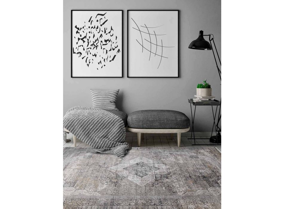 Designer Rug in Viscose and Acrylic Gray Beige with Design - President