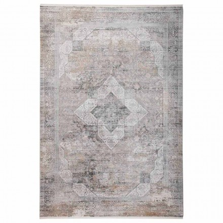 Design Carpet in Grey Beige Viscose and Acrilic with Drawing - President