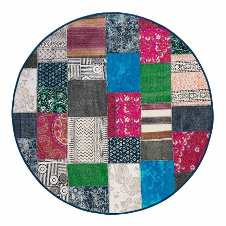 Round Ethnic Rug in Colored Cotton Fabric - Fiber