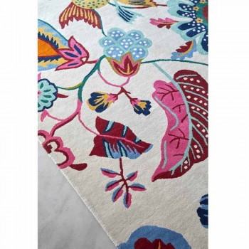Handmade Rug in Wool and Cotton Fantasy Colored in India - Atomic