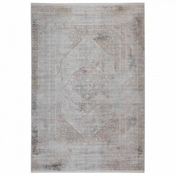 Acrylic and Viscose Anti-Slip Rug with Gray Beige Design - President