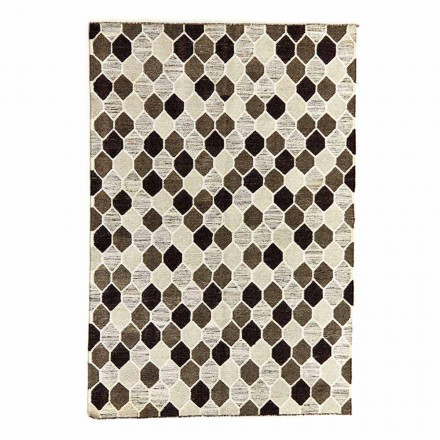Modern Design Carpet with Geometric Pattern in Wool and Cotton - Tapioca
