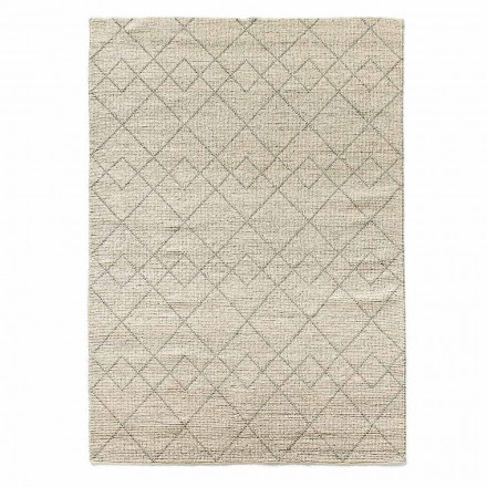 Modern Living Room Rug Hand Woven in Wool Geometric Design - Geome