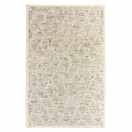 Modern Carpet in Wool and Cotton Ivory with Fantasy for Living Room - Peppo
