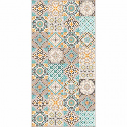 Modern Rectangular and Colored Vinyl Rug for Living Room - Frisca