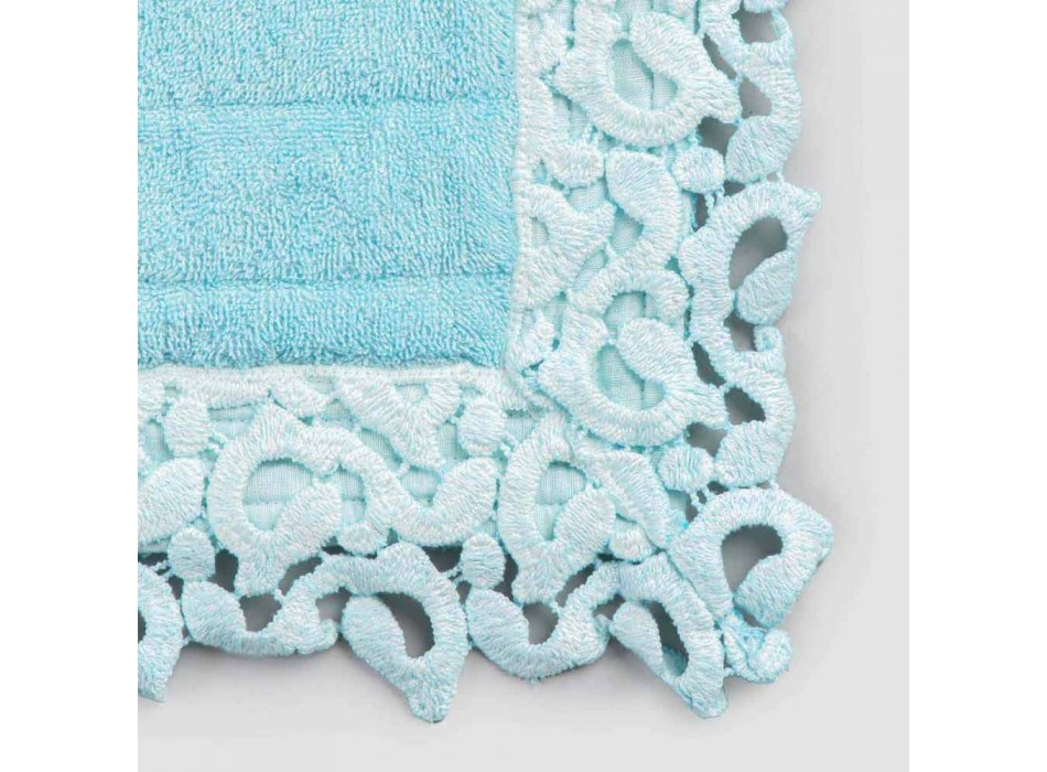 Bath Mat in Terry Cotton and Linen with Poema Lace 2 Colors - Cuorotto