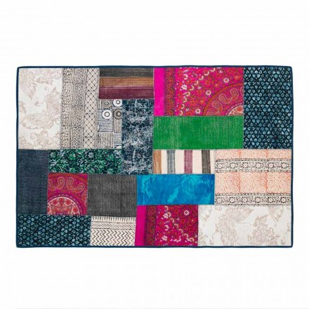 Rectangular Carpet in Blue Kilim Cotton or Colored Patchwork - Fiber