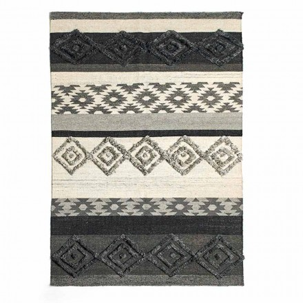 Rectangular Rug in Wool, Cotton and Viscose for Modern Living Room - Zorro