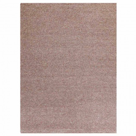 Modern Design Rectangular Carpet in Silk and Brown or Cream Cotton - Kuta