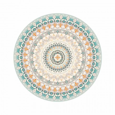 Modern Style Round Patterned Vinyl Rug for Kitchen - Rondeo