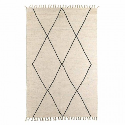 Living Room Rug in Wool and Cotton with Modern Geometric Design - Metria