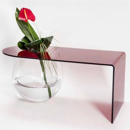 Modern plexiglass curved coffee table, produced in Italy, Bolly