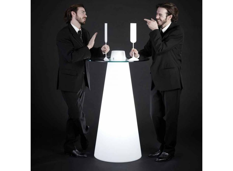 Slide Peak high table (H120) polyethylene and glass made in Italy