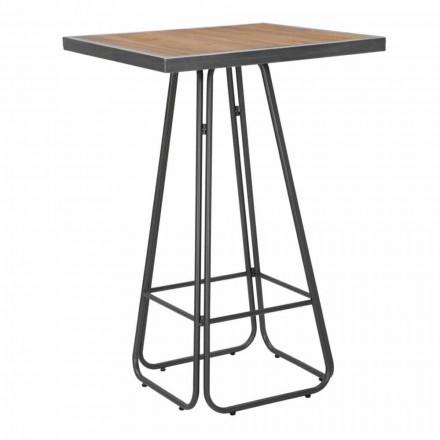 Industrial Modern Style Wood and Iron Square Bar Table - Zula