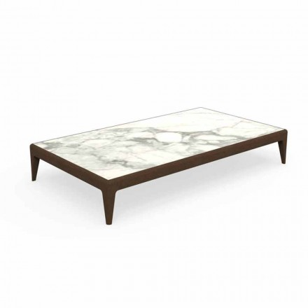 Low Garden Coffee Table L160cm in Teak and Capraia Stoneware - Cruise Teak Talenti