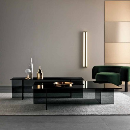 Low Design Modern Coffee Table in Smoked Glass Made in Italy - Sestola