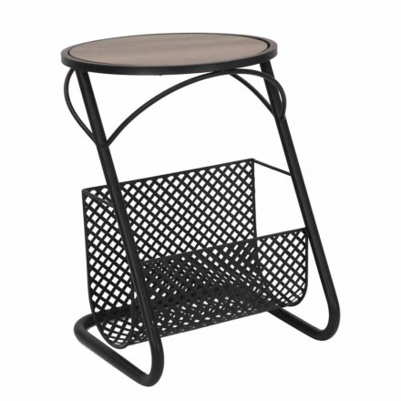 Modern coffee table for living room Newspaper rack in MDF and Iron - Trevor