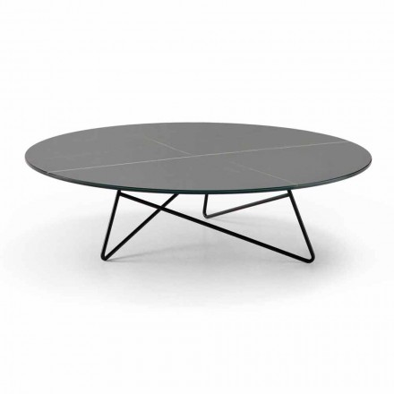 Round Coffee Table for Living Room in Metal and Glass with Luxury Marble Effect - Magali