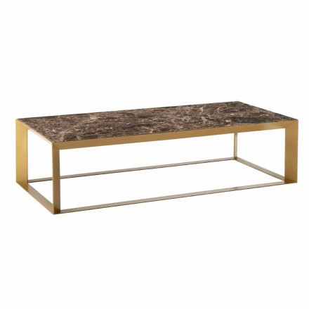 Low Table for the Living Room in Marble and High Quality Steel - Josyane