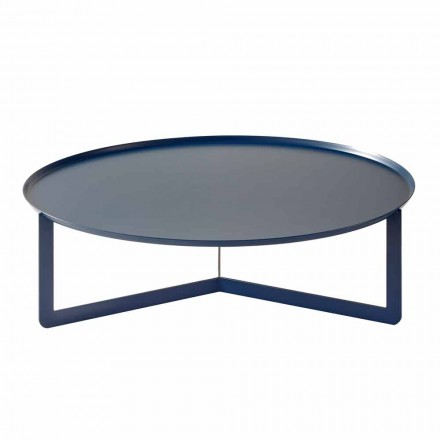 Low Outdoor Round Table in Colored Metal Made in Italy - Stephane