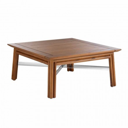 Low Square Outdoor Coffee Table in Natural Wood or Black Design - Suzana