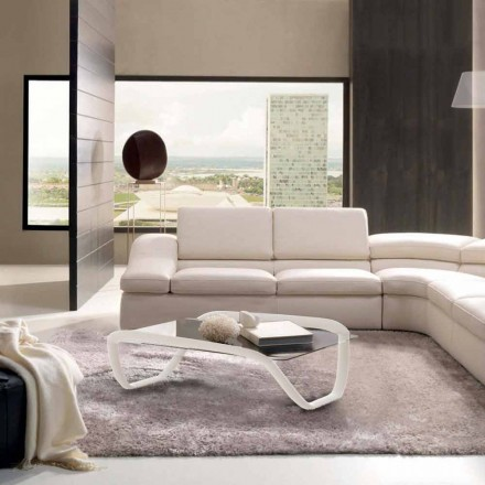 White coffee table made of glass and Solid Surface Continuum