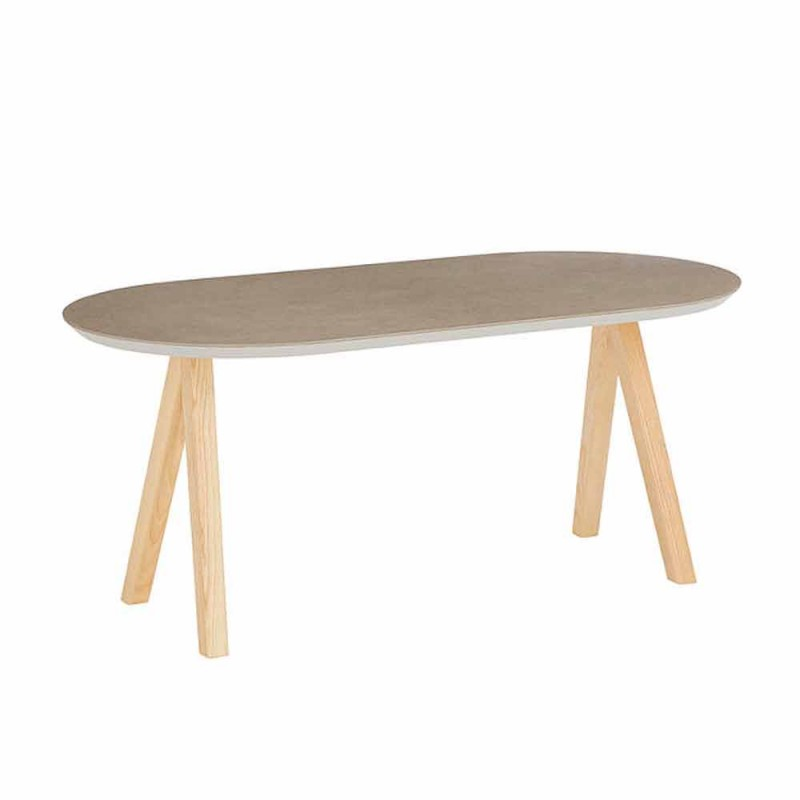 Coffee Table in Ceramic and Natural Wood Modern Oval Design - Amerigo