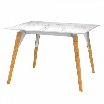 Coffee Table in Wood and Marble Effect, 3 Colors 2 Sizes - Faz Wood by Vondom