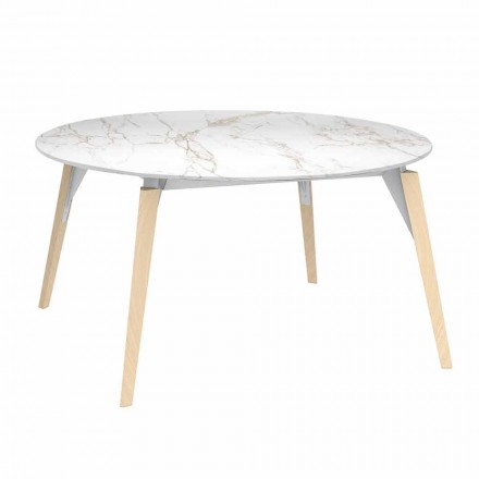 Round Coffee Table Marble Effect Top, 3 Colors 2 Sizes - Faz Wood by Vondom