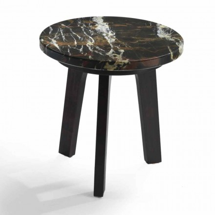 Cocktail table Selmo with gold/black marble top Ø 45 cm, modern design